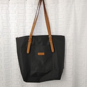 Roots leather and nylon tote bag
